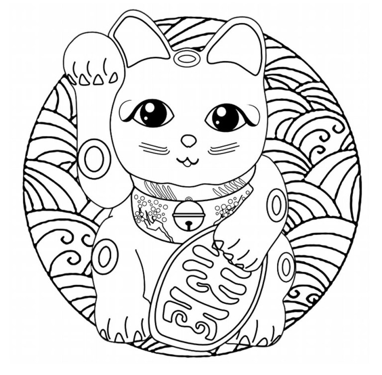 cute free printable mandala cat coloring pages for adults