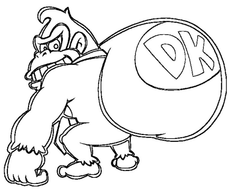 donkey kong coloring pages to download and print for free Collection