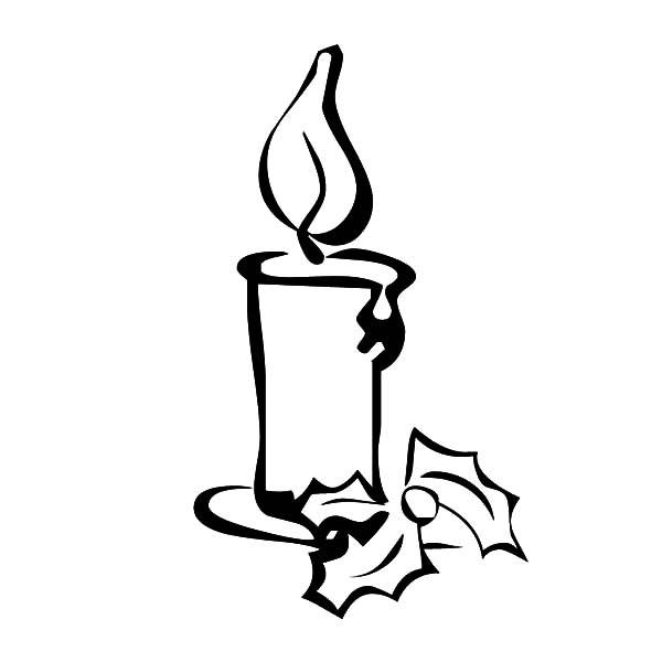 drawing christmas candle coloring to print