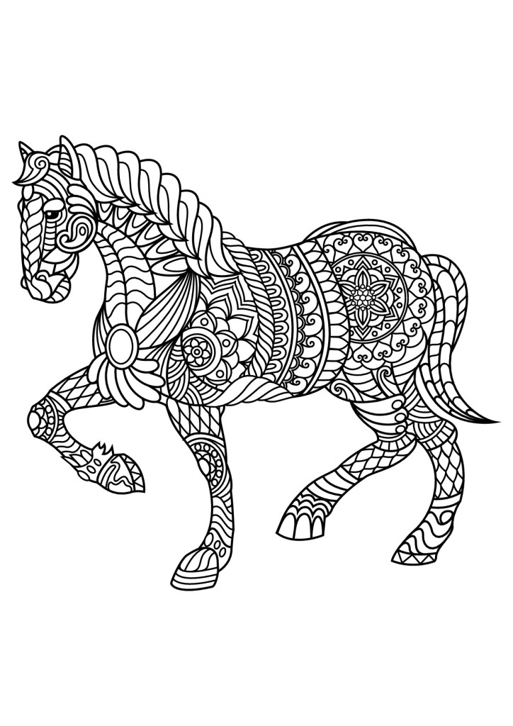 free book horse adult coloring page