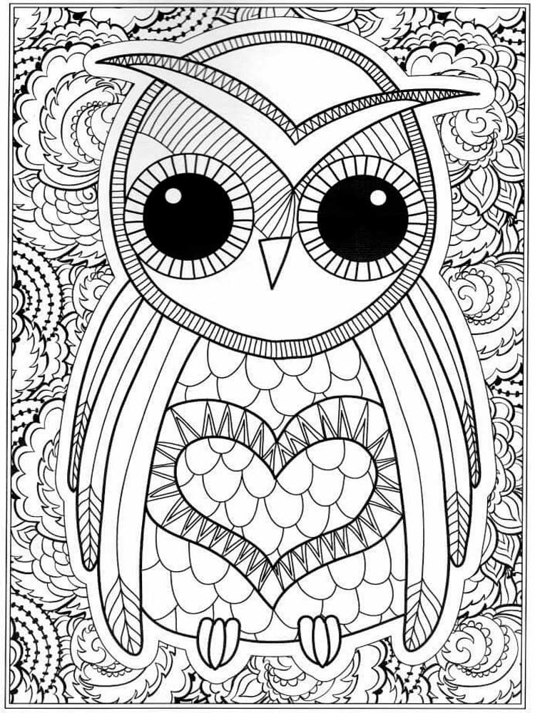 free owl coloring pages for adults printable to download