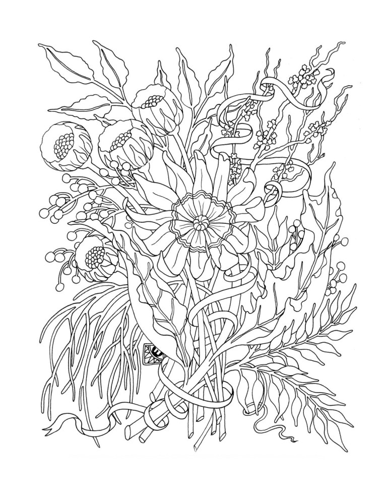 free printable coloring pages of flowers for adults