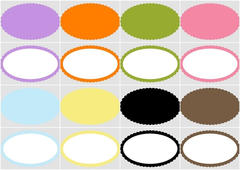 free printable quinceanera oval borders frames or labels all colors