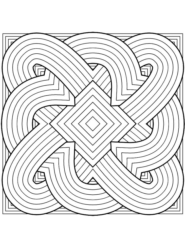 geometric design coloring pages for adults free printable pictures