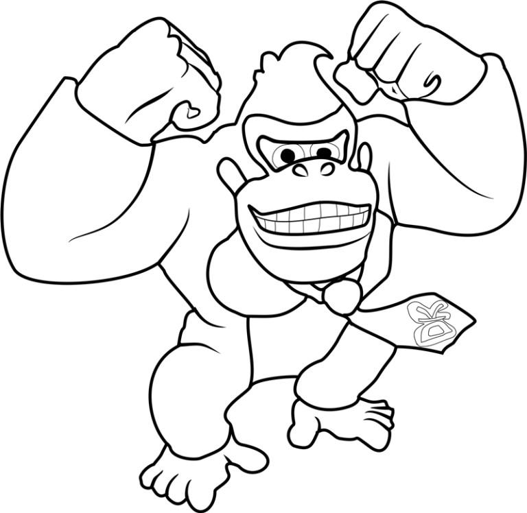 happy donkey kingkong coloring page free printable online