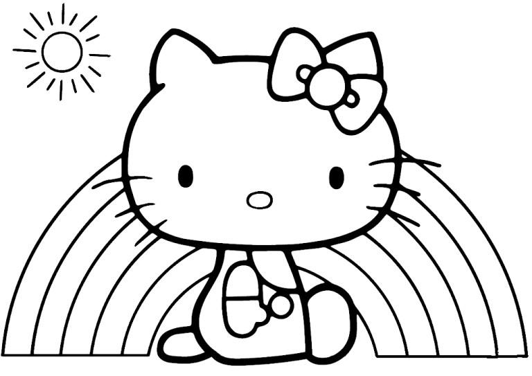 hello kitty rainbow coloring sheet online