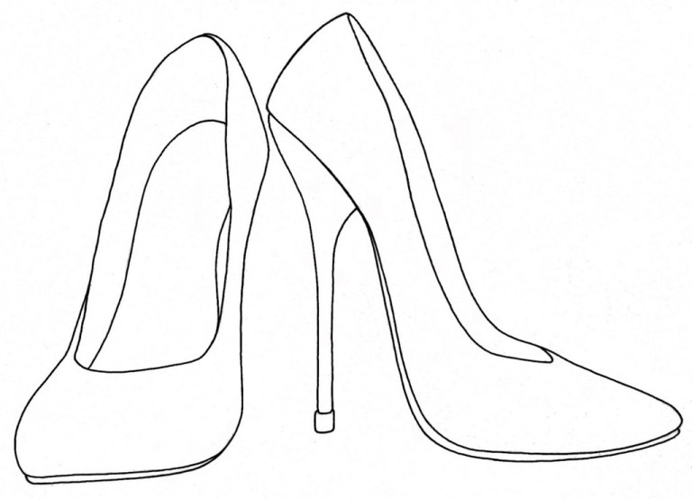high heels shoes coloring printable and drawing for women