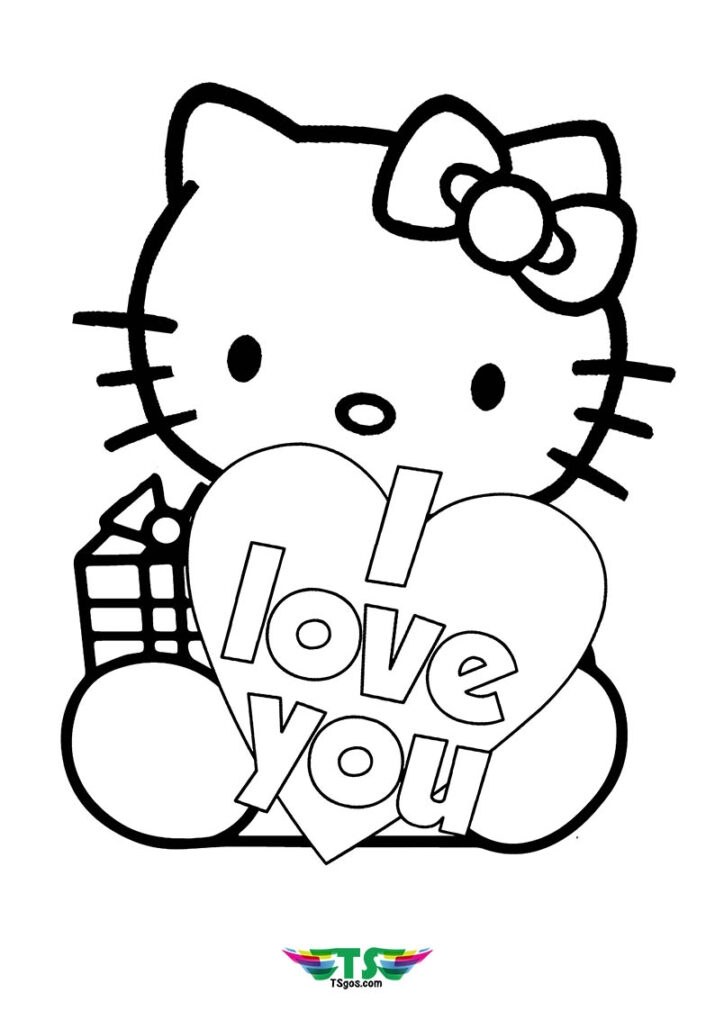 i love u Hello Kitty Ballerina Coloring Pages