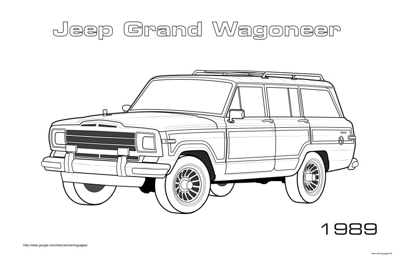 Jeep Towing Boat Coloring Pages grand wagoneer 1989