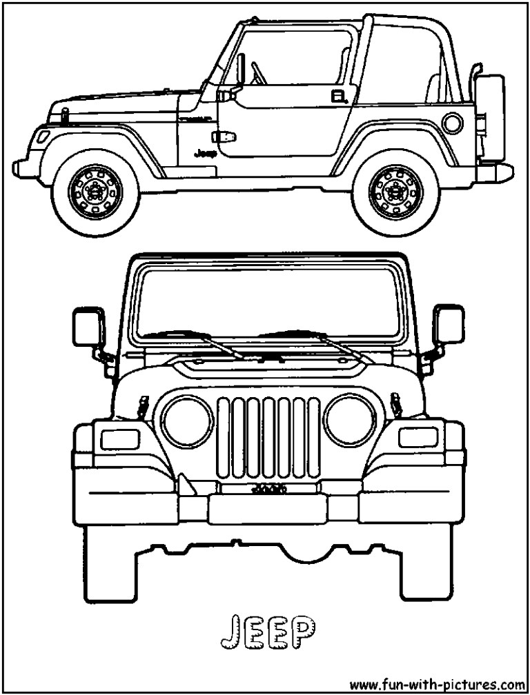 Jeep Wrangler Coloring Pages to download and print for free