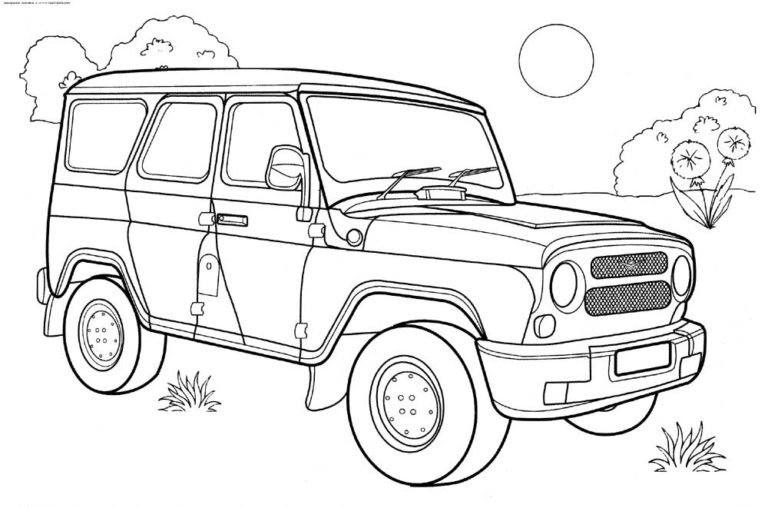 Military Jeep Coloring Pages to print