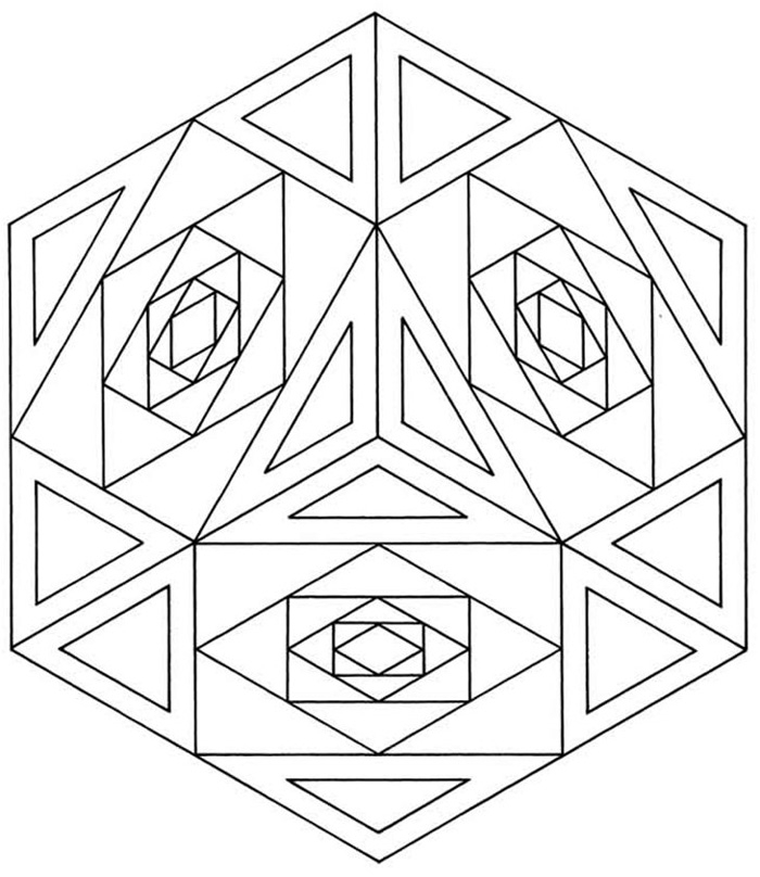 model design geometric coloring page for adults