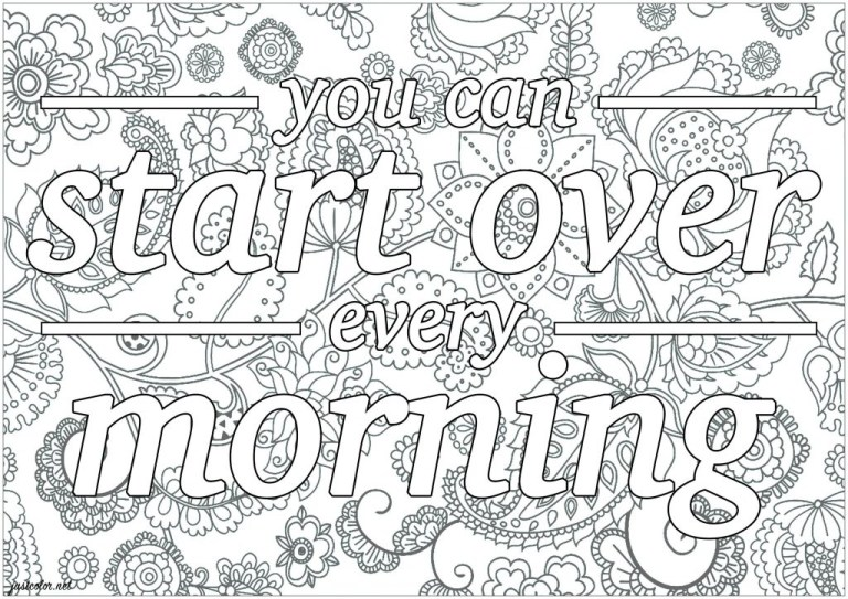 morning printable adult coloring pages quotes start over