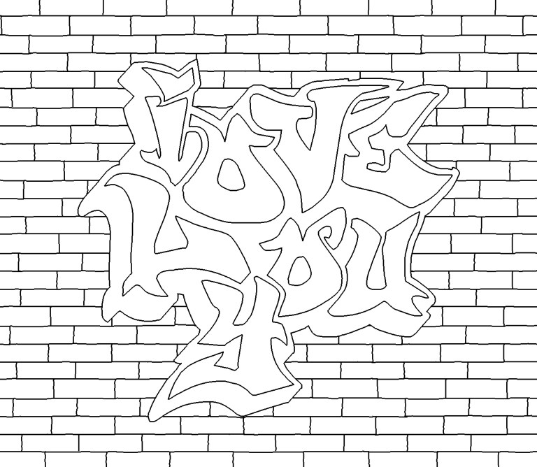 new design graffiti coloring pages for teens and adults