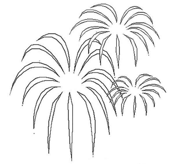 palm tree shaped fireworks coloring online