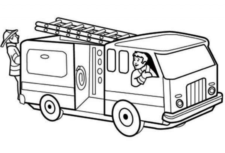 Printable fire truck coloring page for kids to downloads