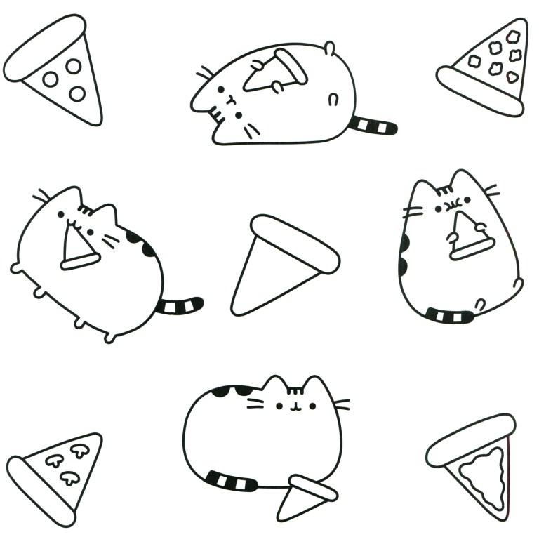 pusheen food pizza