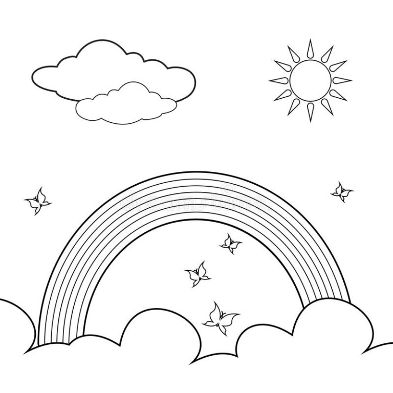 Rainbow Clipart Black And White