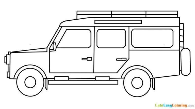 Safari Jeep Coloring Pages for kids