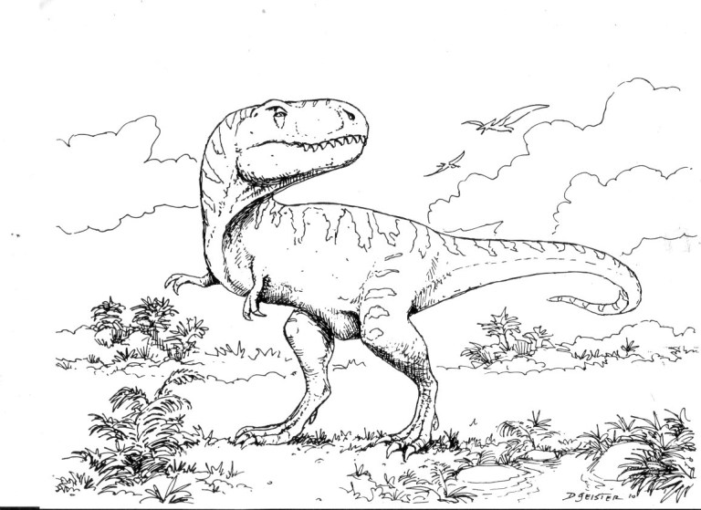 T Rex Coloring Page For Kids