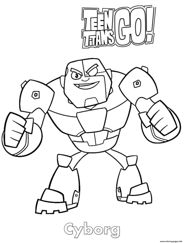 teen titans go cyborg free colouring images