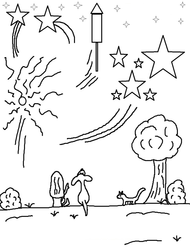 unique printable fireworks coloring pages for kids