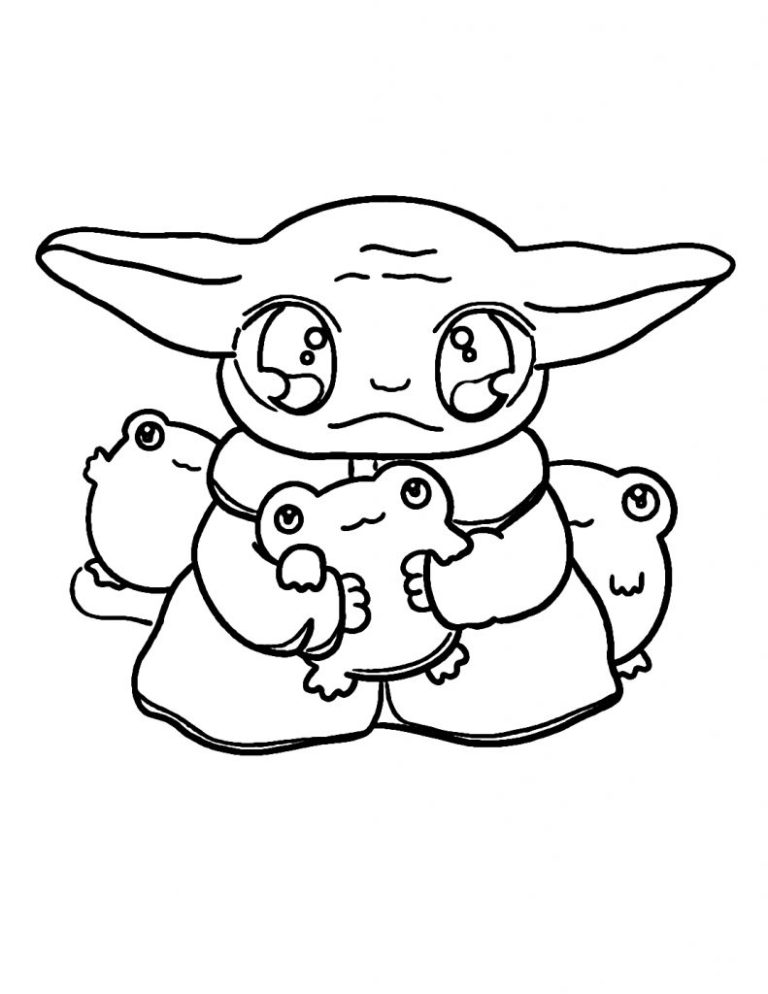 Baby Yoda Coloring Page Easy