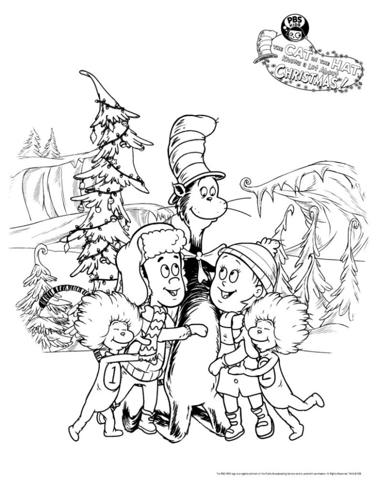 Cat In The Hat Coloring Picture