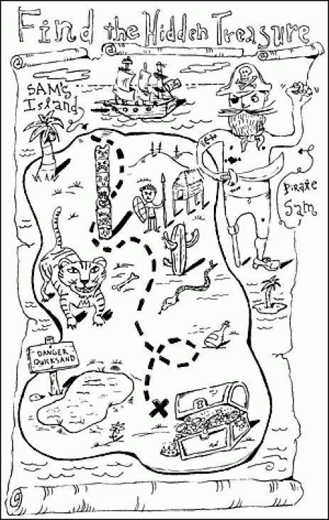Coloring Page Treasure Map