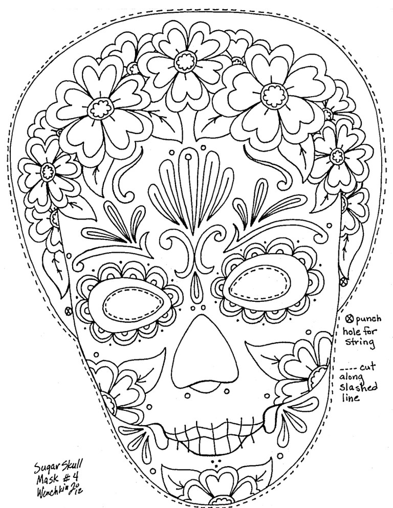 Coloring Pages Day Of The Dead Skulls