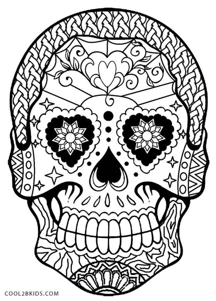 Dia De Los Muertos Skull Coloring Sheets