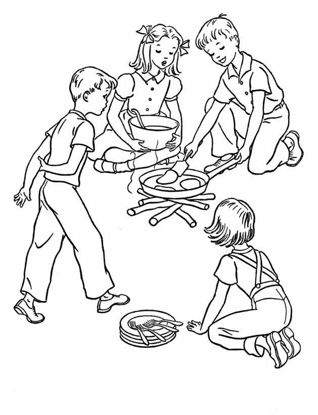 Fire Colouring Page