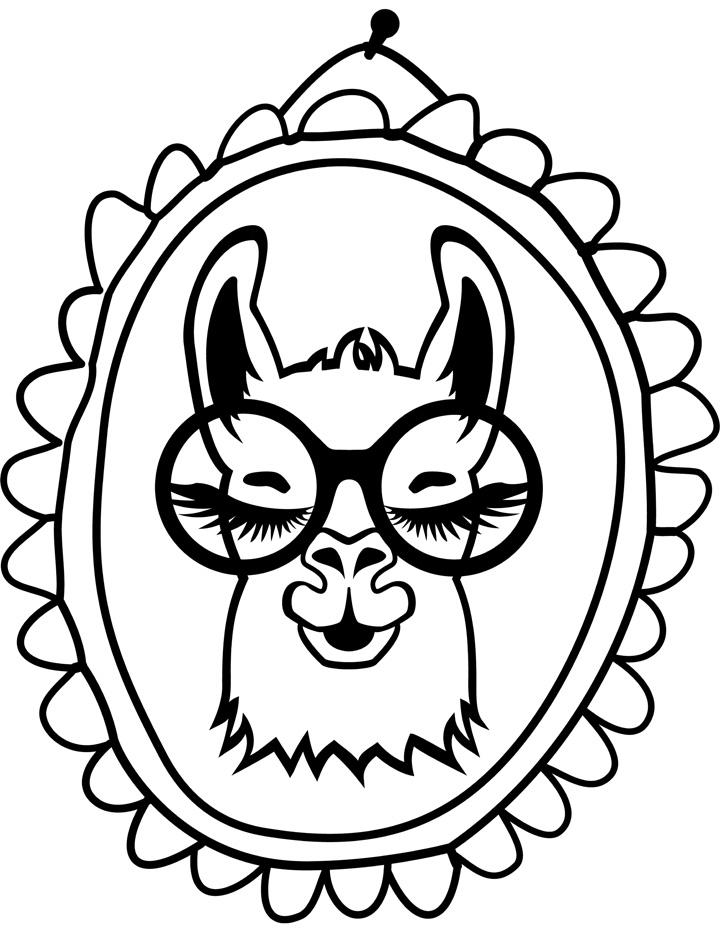 Free Llama Coloring Page