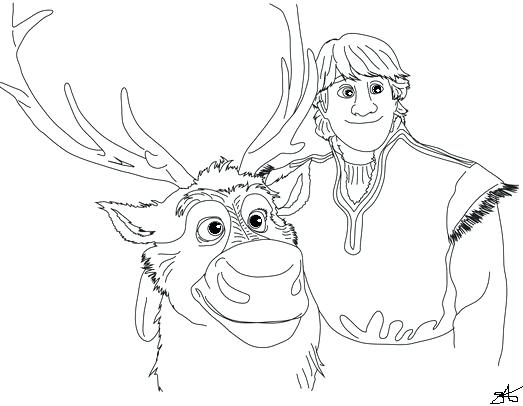 Frozen Coloring Pages Anna And Kristoff Family
