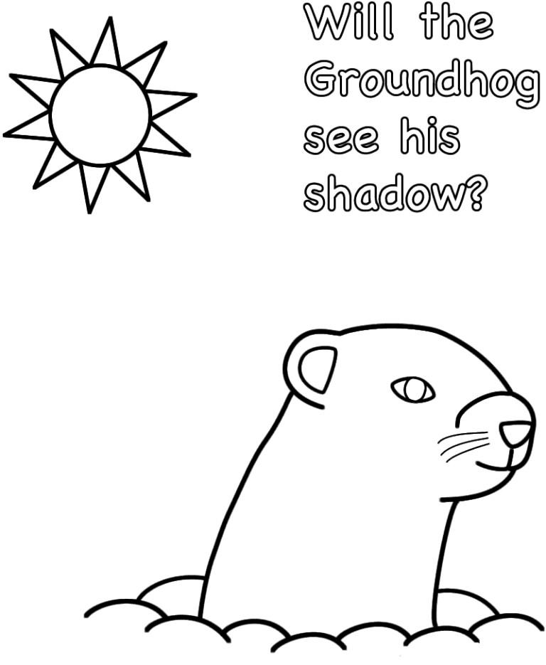 Ground Hog Day Color Sheet