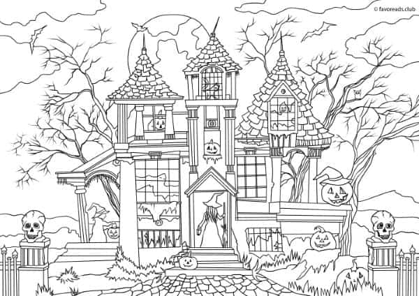 Halloween Haunted House Colouring Pages