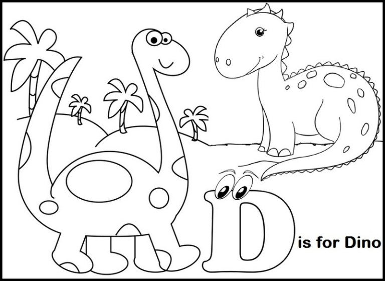 letter d for dino coloring