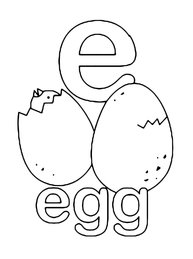 letters E and numbers e for egg print