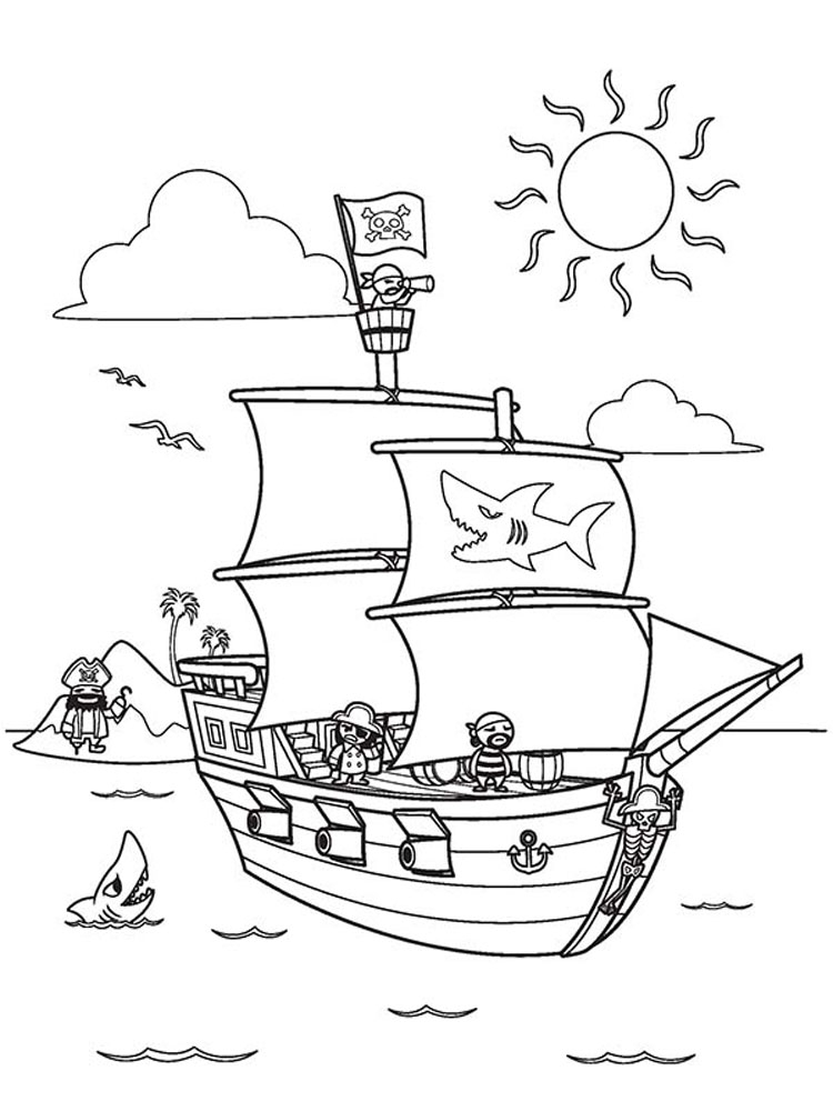 Pirate Ship Colouring Pages