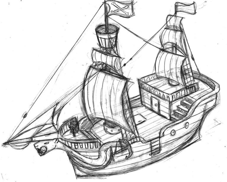 Pirate Ship Colouring Sheet