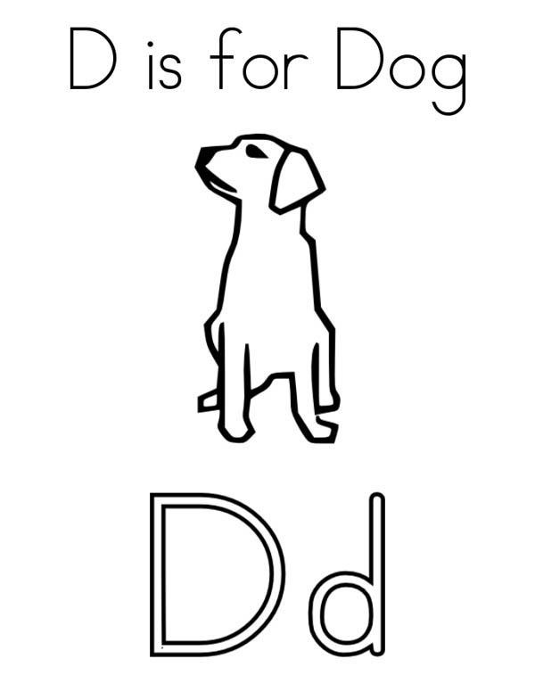 preschool kids learn letter d for dog to print