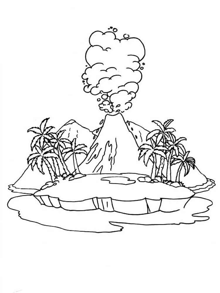 Volcano Coloring Sheet