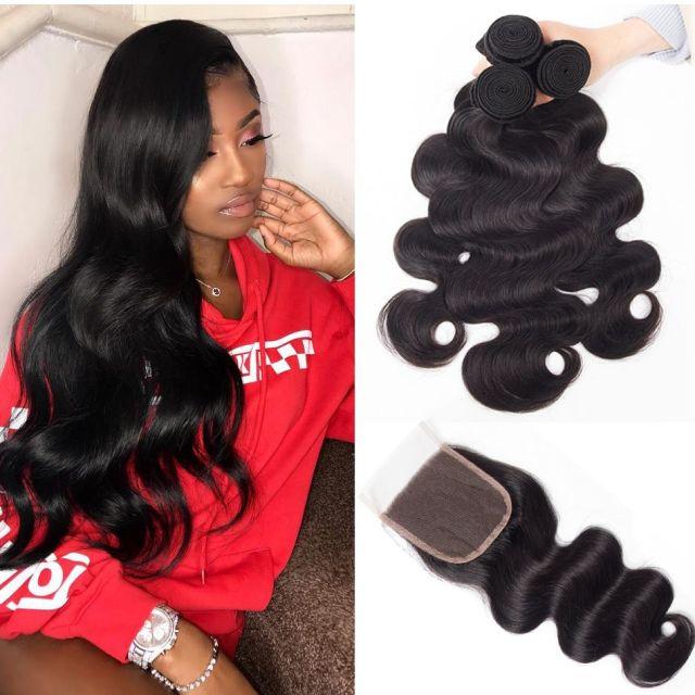 malaysian body wave hair 3 bundles with closure high quality malaysian virgin hair wavy human hair weave with closure