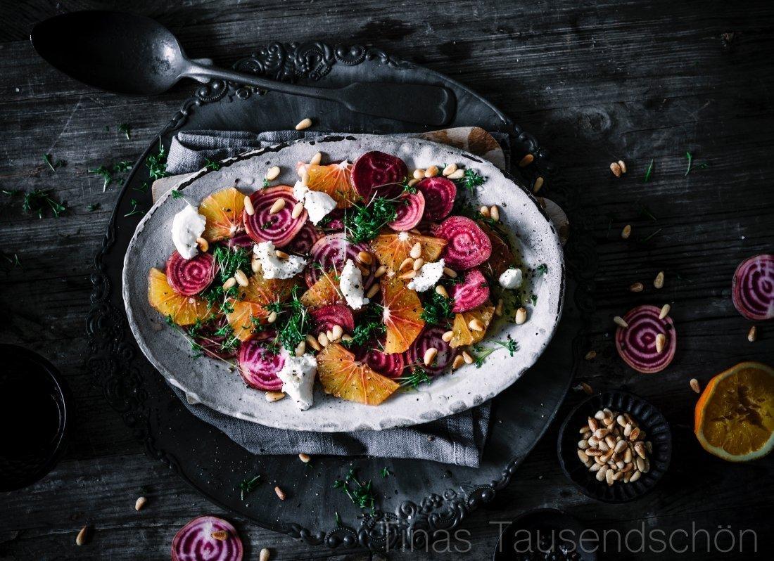 Blutorangen Bete Salat mit Frischkäse