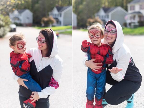 spider-man family halloween costume rva photographer doc ock gwen diy mom son