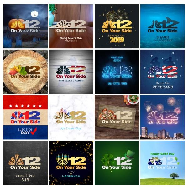 NBC12 Holiday Logo Designs for Social Media Profiles