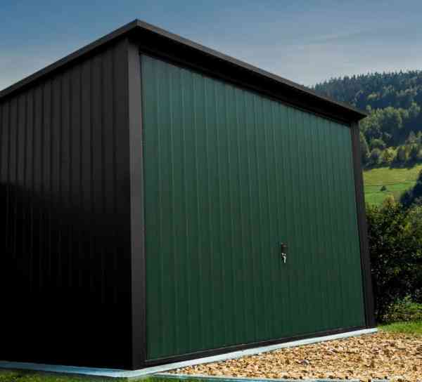 Green steel garage for sale