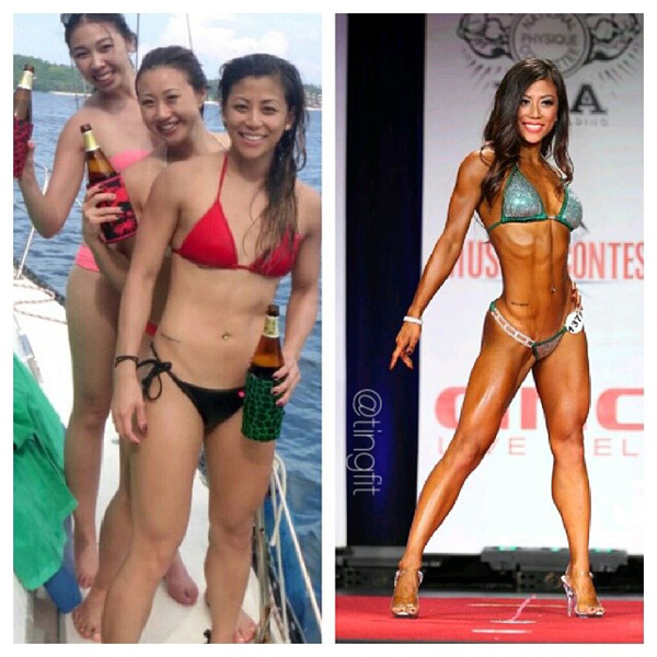 Ting Wang before and after bikini contest fat loss