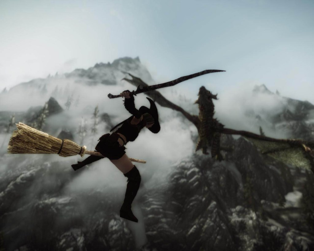 Witch on a broomstick fighting a dragon.