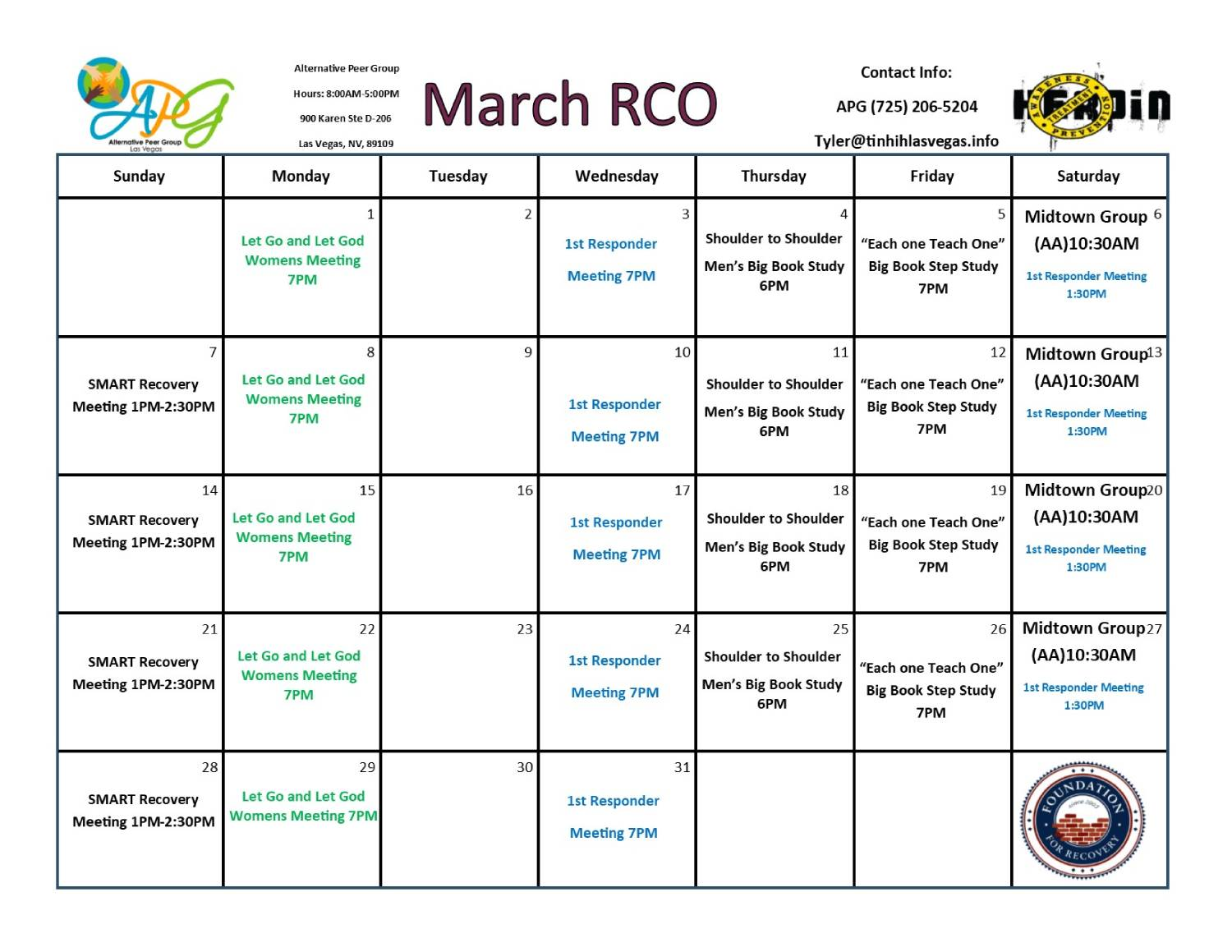 APG RCO Schedule March 2021